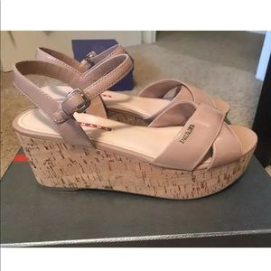 Women's Prada sandals tan patent size 8